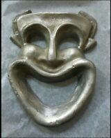 Vintage Metal Sculpture Jester Clown Face - Artist Signed - Tom Clayton -Unique!