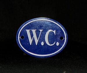 WC (Toilet/Lavatory) Blue/White Enamel French Sign - Dog Rescue Sale