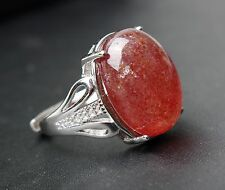 Natural Red Strawberry Quartz Gemstone  Adjustable Ring 17.5x13x7mm