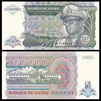 Zaire 100000 100,000 Nouveaux Zaires, 1992, P-41, UNC