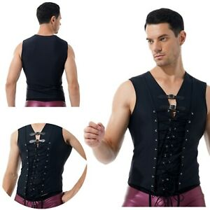 Men Sexy Strappy Lace Up Tank Top Sleeveless Buckle Decor T-Shirt Vest Clubwear