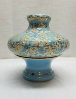 Vintage Mid Century Modern Ceramic Art Pottery Lamp Light Piece Part Gold Blue