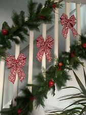 1 Large Luxury Red/white Merry Christmas Double Bow Decorations Garland 20x30Cm