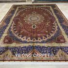 Yilong 9.2'x12.8' Large Red Handknotted Silk Carpet Flooring Furniture Rug Z282A