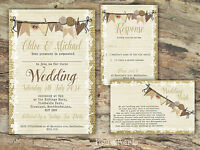 PERSONALISED RUSTIC BURLAP & BUNTING & LACE WEDDING INVITATIONS PACKS OF 10