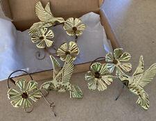 "Home Interior Gold Tone Metal ""Hummingbirds/Flower s"" Wall Accents -Set of 3- Nib"