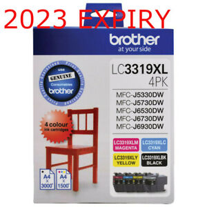 4 Brother GENUINE LC3319XL Inks - 4 Colour Pack SET Black Cyan Magenta Yellow