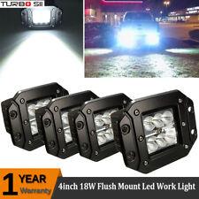 4x4'' 18W LED Work Light Bar Flood Square Truck Offroad Cube Flush Mount Pods