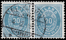 Iceland Scott 28 Horz. Pair (1898) Used VF, CV $80.00  C
