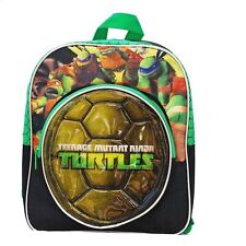 """Backpack 12"""" + Front Zippered Compartment TMNT Ninja Turtles Shell Green NEW"""