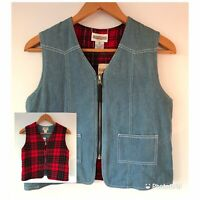 Cambridge Dry Goods Vintage Womens Denim Vest Plaid Reversible Vest S NWT