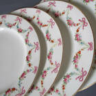 """12 Antique ROYAL WORCESTER 9"""" HP Porcelain Plates Swags ROSES Flowers PINK BOWS"""