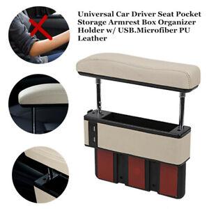 Car Auto Driver Seat Pocket Storage Armrest Box Organizer Holder Beige With USB