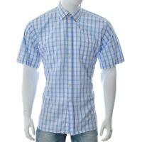 Charles Tyrwhitt Uomo One-Pocket Quadri Camicia Casual Manica Corta 43 Blu White
