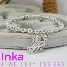 Inka Sterling Silver CHUNKY beaded Stacking Bracelet with a HAMSA / FATIMA charm