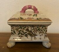 Vintage Antique Chinese Porcelain Footed Trinket Box with Paw Feet