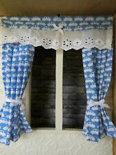 GARDINE,15cm lang,hellblau-weiße Autos,Kinderzimmer,Puppenstube,