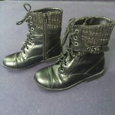 GIRLS' LORI 2 BLACK CASUAL COMBAT BOOTS Size 1