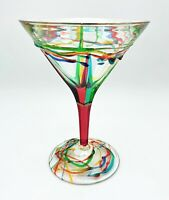 """AMALFI"" MARTINI GLASS - RED STEM - HAND PAINTED VENETIAN GLASSWARE"