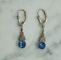 Antike Ohrringe mit blauem Schmuckstein, Silber 800  (# 12355)