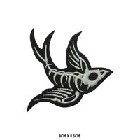 Skull Crow Halloween Embroidered Patch Iron on Sew On Badge