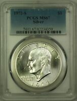 """1972-S Eisenhower """"Ike"""" One Dollar Silver Coin $1 PCGS MS-67 (A)"""