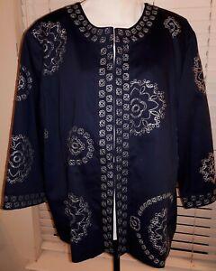 Carole Little Woman Plus Size 2X 20W Navy Blue Mandela Embroidered Lined Jacket