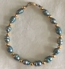 Green Baroque Pearl Bracelet 4 mm Gold Tone Spacers 7.25 inches long