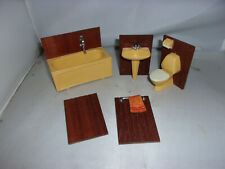 Altes 5tlg-Badezimmer-70er Jahre-Lundby-Lisa-Puppenhaus-Puppenstube-1:18
