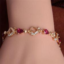 womens heart bracelet 7 inch pink clear cubic zirconia 14k gold filled