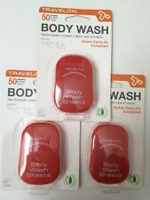 Set Of 3 Travelon Body Wash Sheets  Bath Travel Outdoors Camping Eco Friendly