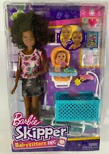 Barbie Skipper Babysitters Inc Baby Feeding Play-set With Baby Playpen New