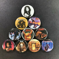 "Ronnie James Dio 1"" Button Pin Set Black Sabbath Rainbow Heavy Metal Elf Rock"