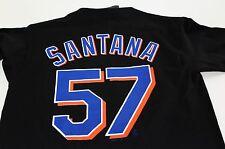 New listing New York Mets Johan Santana #57 Majestic Black Youth Jersey T Shirt Size S NWT