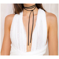 5MM GOLD Bar Black Faux Suede Leather Cord Choker Necklace Wrap Tie Bolo