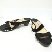 Jimmy Choo Black Leather Wooden Platform Sandals Women's Size 40 Italy