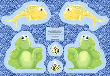 "Susybee PAUL & SHELDON Fish & Frog Cut Out Panel Quilt Fabric ~ 29"" x 44"""