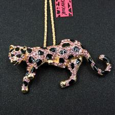 Crystal Panther Pendant Chain Necklace New Betsey Johnson Shiny Pink Rhinestone