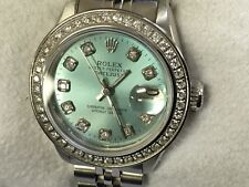 Rolex Ladies Datejust Oyster Perpetual Steel Diamond Dial Bezel Watch