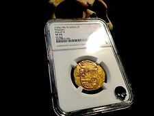 "SPAIN 1556-98 ""TOLEDO FULL CROWN"" 2 ESCUDOS NGC 35 GOLD COB DOUBLOON GOOD TONING"