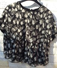 JUST CAVALLI Cropped Overlay Silk Top 40IT (8UK 36EUR) Black NEW
