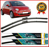 "Fiat 500 Front Pair Flat Aero Wiper Blades 24"" 14"" 2007 2008 2009 2010 2011 2012"