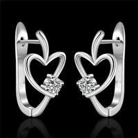 Fashion Solid 925 Silver Cute Heart Crystal Wedding Zircon Women Earring jewelry