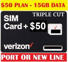 Verizon $50 Plan 15Gb Data Sim Card with First Month Included