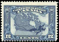 1927 Mint H Canada F Scott #145 12c Confederation Anniversary Issue Stamp