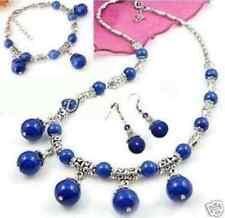 "Tibet Silver Lazuli Lapis Necklace Bracelet Earring Set 18"" 7.5"""