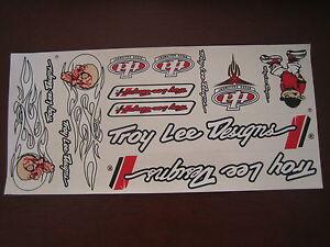 Troy Lee Designs Sticker White, Black & Red. Die Cut.