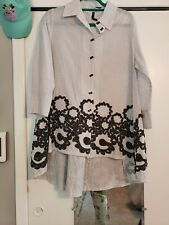 IC Collection by Connie K white Black Tunic Blouse M Preowned