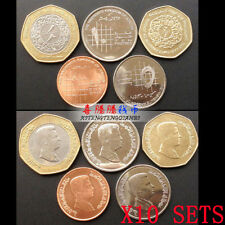 Wholesale lot 10 SETS, Jordan Set 5 Coins, 1+5+10 Piastres+1/4+1/2 Dinars, UNC
