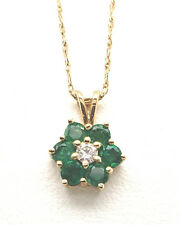 "Natural  Emerald .38tcw & diamond .05tcw 14k yellow gold necklace 16"" NWOT"